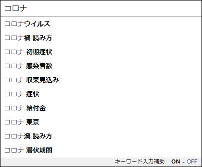 Yahoo! JAPAN入力補助機能(サジェスト)20200429「コロナ」表示キーワード