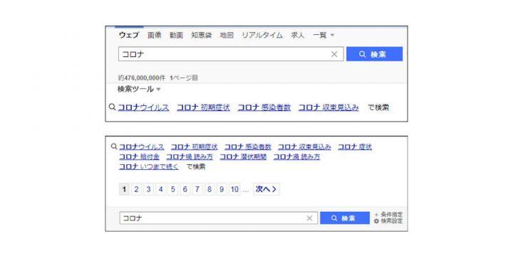 Yahoo!検索エンジン 虫眼鏡(関連検索ワード)のキーワード表示調査